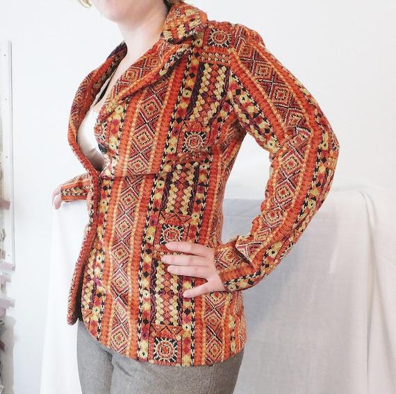 Vintage Blazer Jacket Orange Jacket Aladdin Jacket