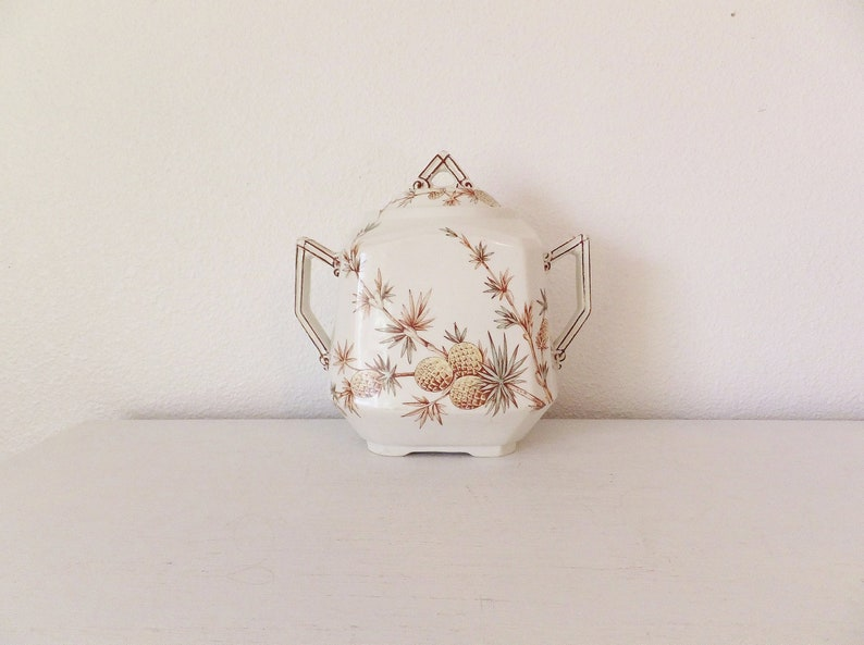 Rare Antique Staffordshire Stoke on Trent Ridgways Victorian Container  Bedford Works Pineapple Pinecone English Brown Transferware Edwardian