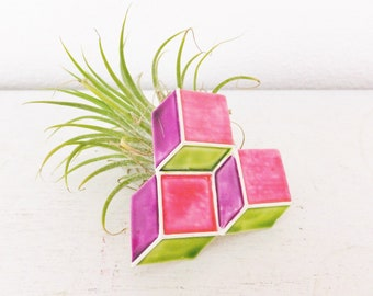 Vintage 1960's Capri Pin Geometric Neon Pin Mod Cube Modernist Jewelry Pin Capri Brooch in Neon Pink, Purple and Green Large Vintage Brooch