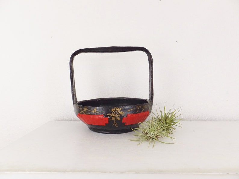 Long Life And Happiness Bohemian Unusual Antique Red Glass With Handle