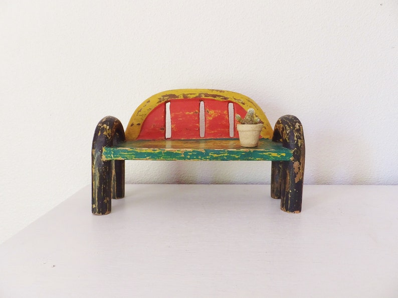 Surprising Painted Wooden Doll Bench Bohemian Whimsical Eclectic Shelf Balinese Carved Wood Bench Miniature Sofa Small Doll Chair Furniture Plant Stand Inzonedesignstudio Interior Chair Design Inzonedesignstudiocom