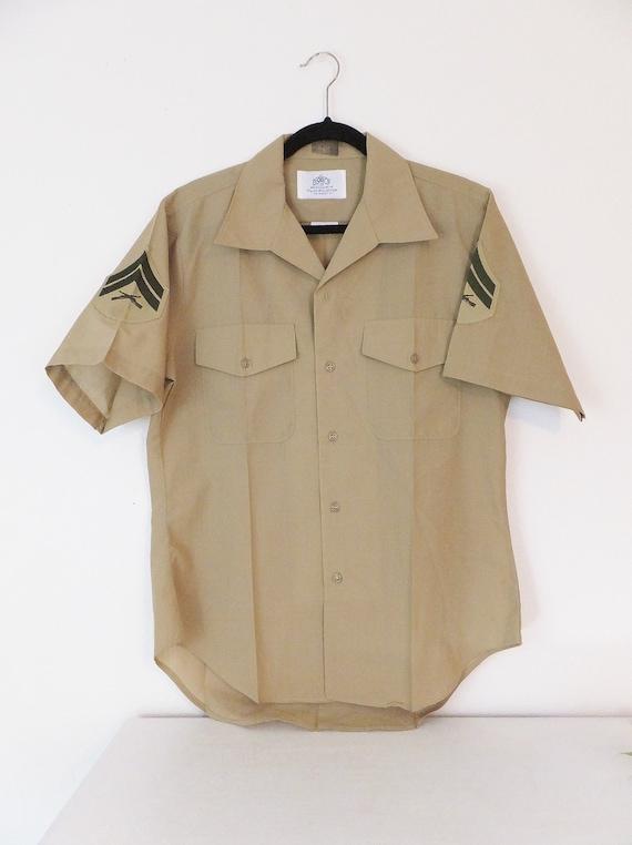 Military Shirt Khaki Button Down Collared Shirt Mi