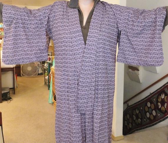 Vintage Purple Lace Filigree Kimono Long Kimono Si