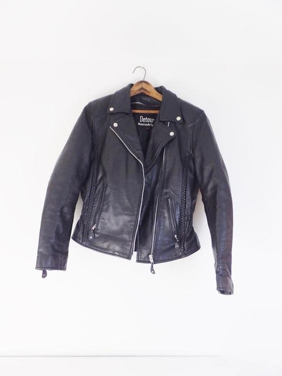 Vintage 1990's Detour Black Leather Jacket Women's