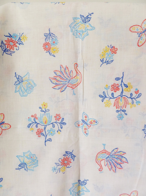 Voilage Semi vintage avec Faux broderie Floral imprimé sur bleu jaune rouge sur imprimé tissu mélange lin coton tissé texturé blanc d'été à coudre 15eb10