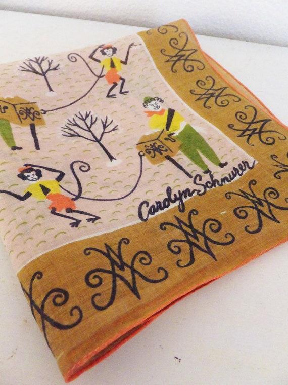 Vintage Mid Century Handkerchief Carolyn Schnurer