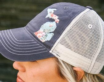 Dark Gray - Vintage Floral Michigan  //  womens trucker hat - Floral Hat, Vintage Michigan, Womens Hat