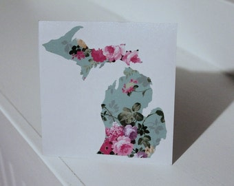 Michigan Vintage Floral Decal  #smittenwiththemitten Vehicle Car Decal Yeti Sticker
