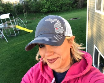 0daa0da0a86 Dark Gray - Stripe Michigan + heart // womens trucker hat, Baseball Hat,  black white stripes