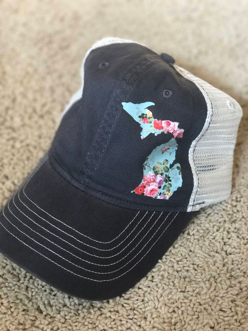 bafa320db47c Dark Gray Vintage Floral Michigan    womens trucker hat