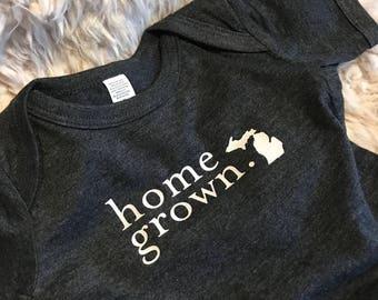 Michigan Home Grown - Baby Onesie - Newborn Bodysuit - Gray - Custom - Michigan Baby - Shower Gift