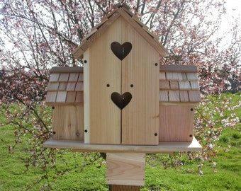 CEDAR BIRDHOUSE with 6 seperate  COMPARTMENTS  hearts