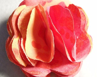 Pink and Orange Rosette Fabric Hair or Hat Clip
