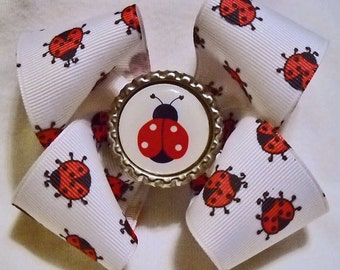 Lady Bug Boutique Hairbow with Bottlecap Center