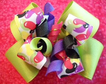 Lime Green Jelly Bean Double Hairbow with Corkers