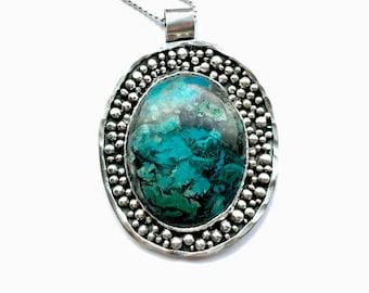 Ocean Jasper Sterling Silver BIRD Pendant Necklace by Meshel.  100% hand forged metalwork OOAK artisan pendant on sterling silver chain.