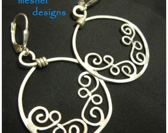 CLIMBING BRANCHES EARRINGS hand forged swirls of sterling silver, soldered