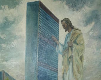 "1961 Oil Painting by Harry Anderson ""Prince of Peace"" Christ seeking entrance to the United Nations Secretariat, Religious Art, Wake Up Call"