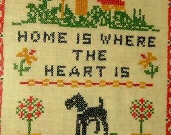 Cross stitch vintage 1970's Folk Art Cross Stitch Home is where the heart is, Terrier Schnauzer Dog, Country Folk Art Sampler
