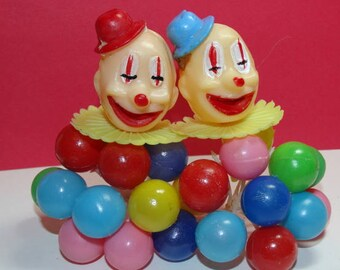 Vintage Clown Cake Toppers, Balloon Cake Toppers, Birthday Cake Toppers, Happy Clowns, 4 pieces