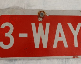 3-Way Road Sign, Street Sign, Red & White 3-Way Road Sign, Metal Sign, Room Decor, Dorm Room, Threeway Stop, Man Cave Decor, Kids Room Decor