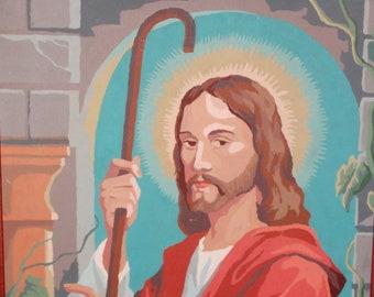 Vintage Paint by Number, Jesus, Shepherd, Jesus Christ, Religious Icon, Christ/Religious Paint by Number