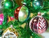 Vintage Glass Mercury Christmas Bulbs, Aluminum Green Mini Christmas Tree, Already Decorated, just add lights