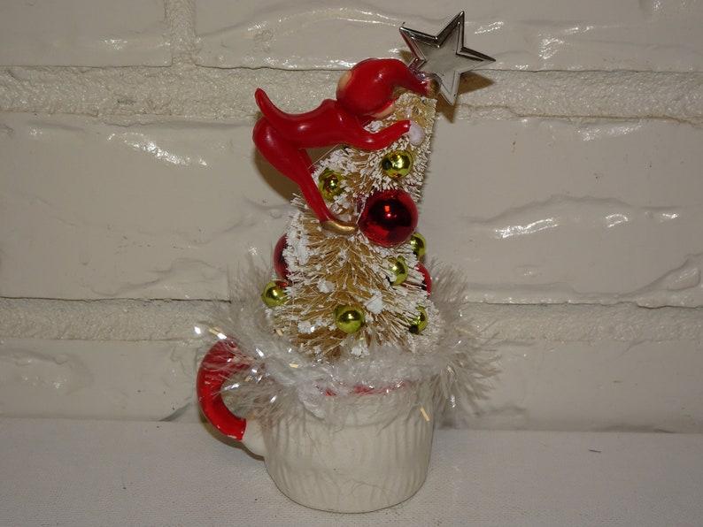 Pixie Retro Christmas Decoration Bottle Brush Trees Up Cycled Santa Mug Cup Mid Century Elf Red Elf