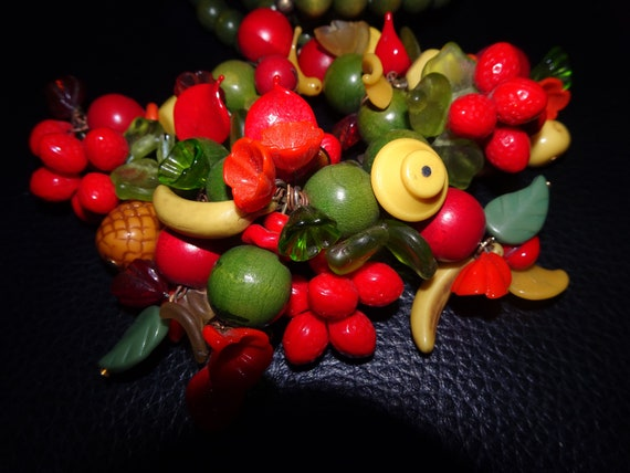 Vintage Carmen Miranda Style Fruit Necklace, Fruit
