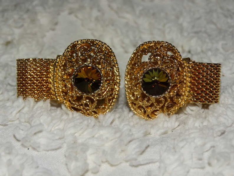 retro 70/'s fashion design style Formal Jewelry Gold Mesh closers Vintage 1970/'s SWANK Mens Cufflinks Multi-Colored Stone