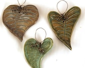 3 Small Hand Made Pottery Leaf Ornaments Leaves Copper Wire