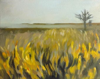 AUTUMN NOON, oil painting landscape painting, original oil, 100% charity donation, stretched canvas 8x10, landscape