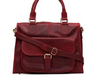 Leather Handbag Purse Pocket Bag, Red