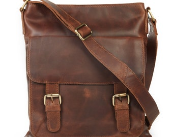 Brown Leather Cross Body Bag, Messenger bag