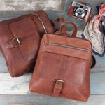 Leather Backpack, Leather Rucksack, Travel Bag, Distressed Brown