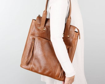 Leather Shopper Tote, Large Leather Tote, Leather Shoulder Bag, Leather Bag
