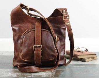 Leather Shoulder Bag /Cross Body Bag /Handbag, Brown