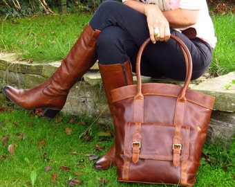 Brown Leather Tote, Large Leather Purse, by The Leather Store LAST ONE