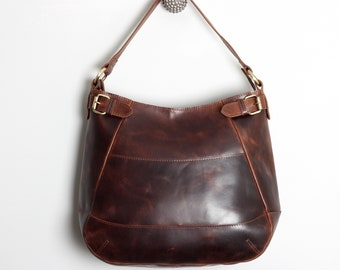 aabb0f50aa4 Leather Handbag, Leather Tote, Hobo Style Purse, Distressed Brown Leather