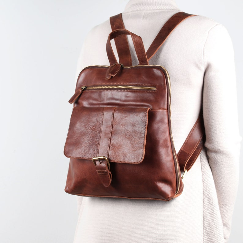 Leather Backpack Leather Rucksack Travel Bag Dark Brown image 0