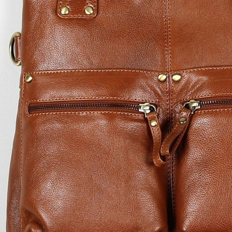 Tan Leather Tote Bag with Pockets Tan Leather Shoulder Bag Leather Shopper Bag
