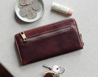 Ladies Leather Zip Around Wallet, Large Leather Purse, Large Leather Wallet, Women's Leather Wallets