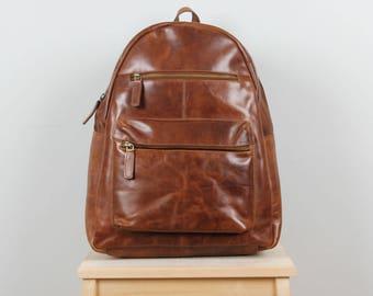 Large Leather Backpack, Rucksack, Purse, antique tan