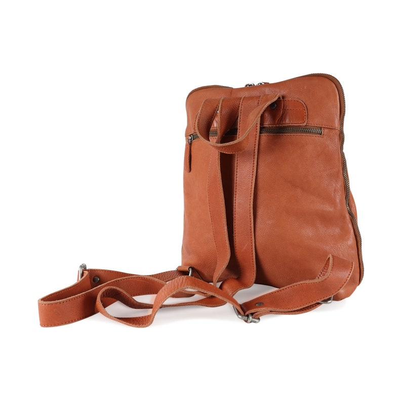 Leather Backpack with Pocket Travel Backpack Leather Rucksack by The Leather Store Tan Leather Rucksack Womens Backpack