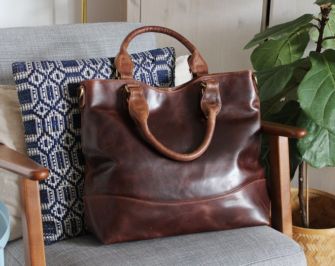 Leather Tote, Genuine Leather Purse, Womens Work Bag, Vegetable Tanned Leather Handbag by The Leather Store