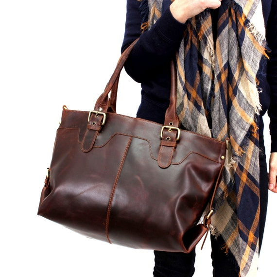 f8a9f70481 Leather Tote Large Leather Purse Brown Distressed Leather