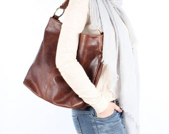 Distressed Brown Leather Handbag, Leather Tote, Hobo, Purse
