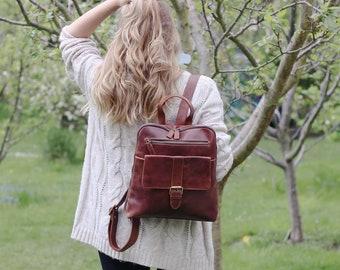 Leather Backpack, Leather Rucksack, Travel Bag, Dark Brown