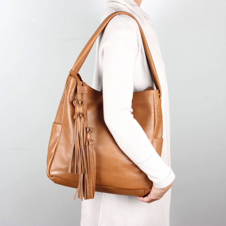52898cf9a97a Tan Leather Hobo Bag Leather handbag Tote Purse with
