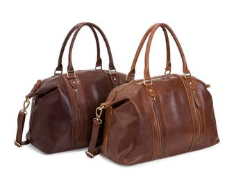 Leather Travel Bag, Weekend Bag, Holdall, Brown and Tan